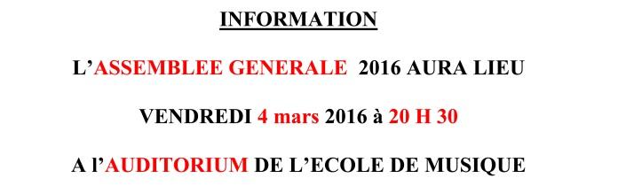 L'ASSEMBLEE GENERALE  2015 AURA LIEU